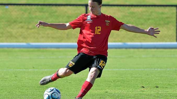 TOUGH LOSS: Sunshine Coast Fire went down 7-1  to Brisbane Strikers. Fire's Harrisson Bowen in action.