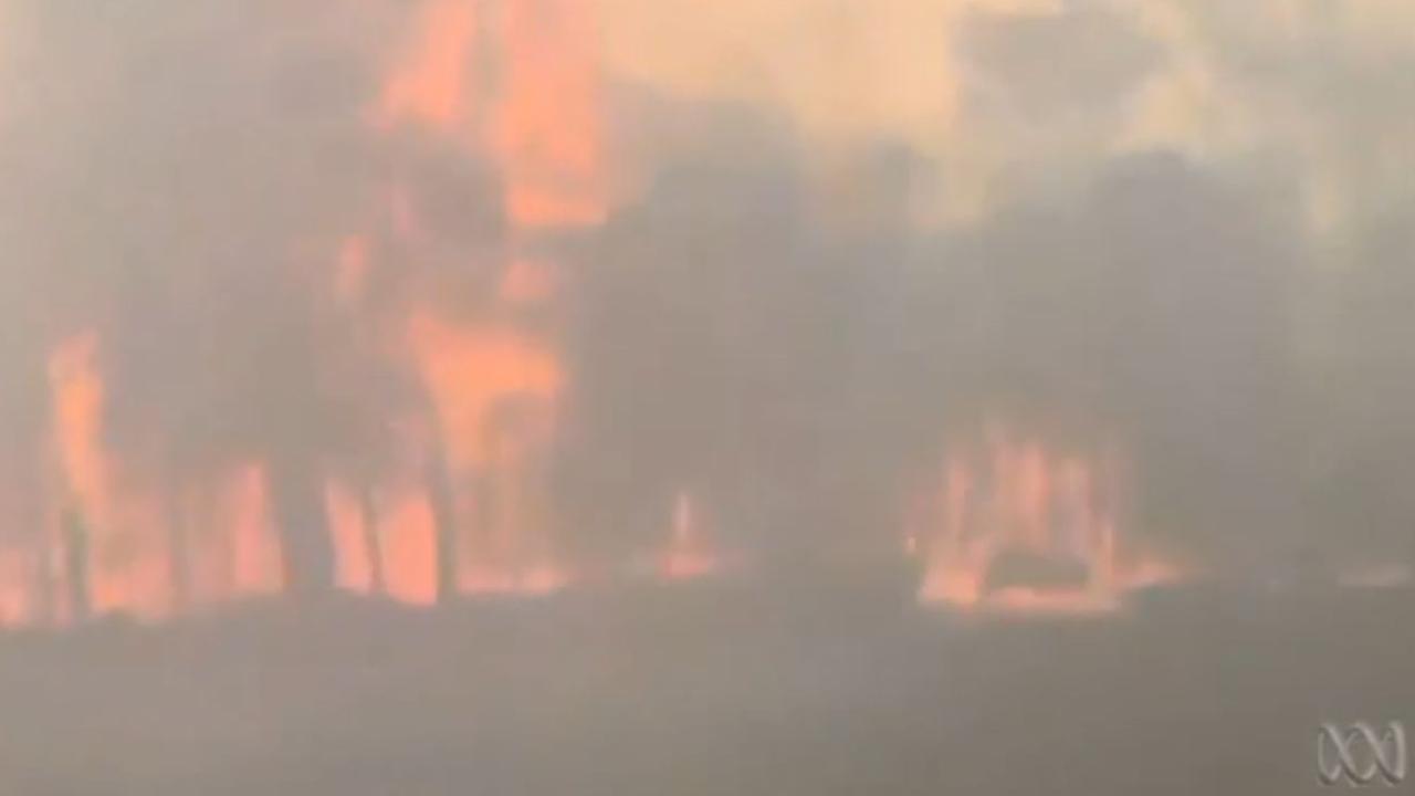 Video shows train travelling through bushfire zone in Sydney's southwest.