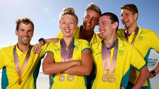 Individual para swimming gold medal winners Matt Levy, Lakeisha Patterson, Brenden Hall, Tim Disken, and Jesse Aungles. Picture: Adam Head