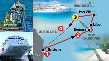 Cruise ship Pacific Dawn and it's route. The Brisbane woman fell overboard near New Caledonia as the ship was returning to Queensland.