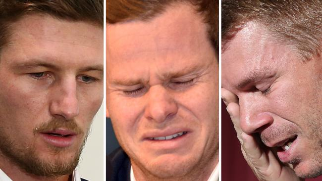 Cameron Bancroft, Steve Smith and David Warner.