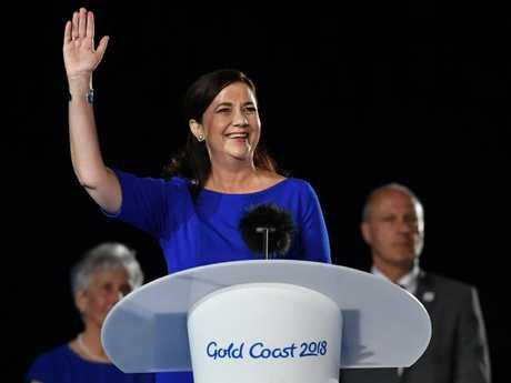 Premier Annastacia Palaszczuk speaks on stage during the closing ceremony of the XXI Commonwealth Games on the Gold Coast