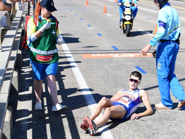 Callum Hawkins of Scotland as he collapses after being in the lead of the Men's Marathon