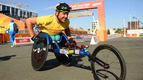 Kurt Fearnley had a lesson for us all after his win in the wheelchair marathon. Picture: Getty Images