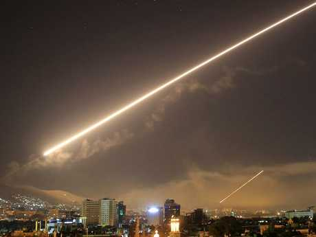 Damascus skies erupt with service to air missile fire as the US launched an attack on Syria targeting different parts of the Syrian capital Damascus, Syria.  Picture:  AP