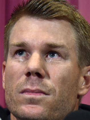 David Warner at his press conference in Sydney.