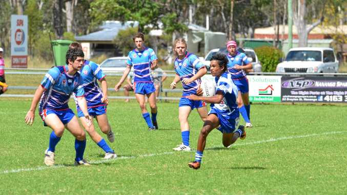 UNSTOPPABLE: Alfred Watcho on the attack for the under-16 South Burnett Eagles.