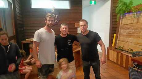 Hollywood celebrities Chris Hemsworth and Matt Damon with Coffee Rocks at Rainbow owner Michael Read.