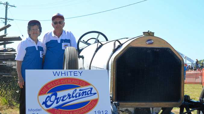 PROUD HISTORY: Marjorie and Graham Crittenden with Whitey at the Wondai Street Sprints.