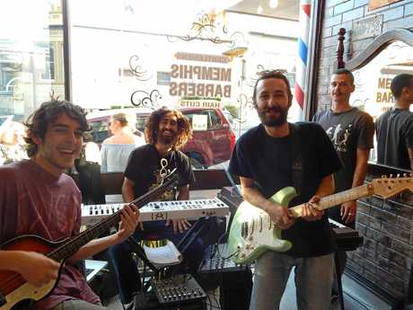 Sunshine Coast five-piece band Bark was on hand to open the shop.