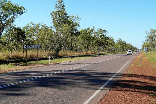 The sign for Townend Road on the Stuart Highway about 60km south of Darwin. This is the site of the new Bushfires NT Centre.