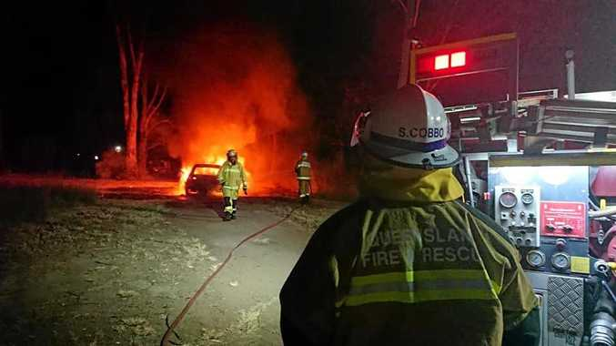 ABLAZE: A stolen car was set on fire in Cherbourg on Sunday night.