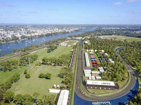 PROPOSED DESIGN: View of the track looking across the river towards the Rockhampton CBD.