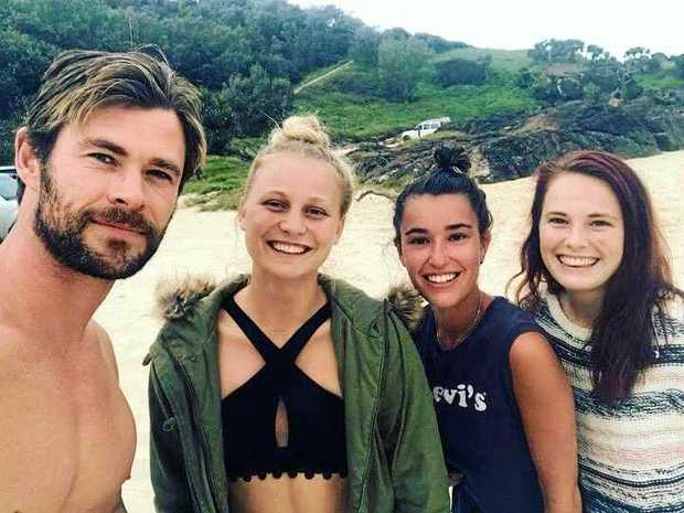 Chris Hemsworth with Isabella Wood with her friend Tessa Cantori and sister Laura Wood camping at Double Island Point at the weekend.