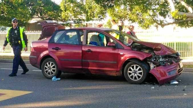 COLLISION: One of the cars involved in the crash.