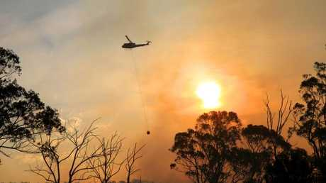 Helicopters water bomb a bush fire at Alfords Point and Menai. Picture by Damian Shaw