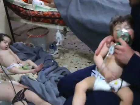 At least 34 people were killed when the Syrian government carried out a suspected chlorine attack on civilians in Eastern Ghouta. Picture: AFP Photo