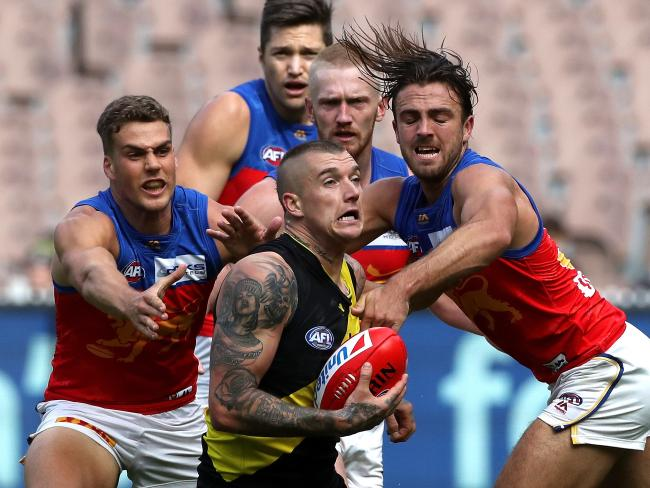 No matter the number of Lions, Dustin Martin was too good on Saturday. Pic: AAP