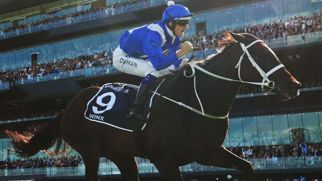 Hugh Bowman takes Winx to victory in the Queen Elizabeth Stakes at Royal Randwick Racecourse on Saturday, April 14. Picture: Mark Evans/Getty Images