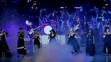 Dami Im, Thandi Phoenix, Samantha Jade, Kate Ceberano, Katy Noonan, Emma Donovan and Kira Puru on stage during the closing ceremony. Picture: AAP / Dan Peled