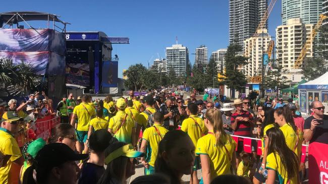 Australian athletes kept outside in the sun.