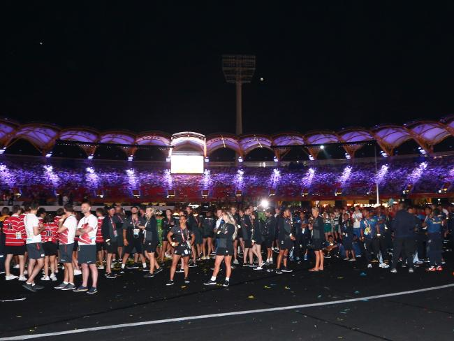 Hundreds of athletes left the ceremony before it had even finished. Picture: Michael Dodge