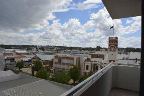 The view over Toowoomba City Hall from fifth storey suite. Burke and Wills Hotel redevelopment tour November 16, 2017.