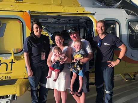 Flight nurse Renee Bolot, Karli Brotherton with baby Anthea, Dan Brotherton with Kai and co-pilot Alex Door.