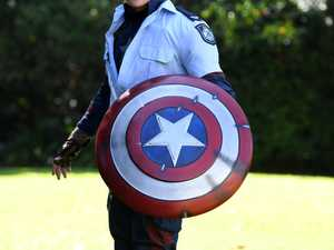 SUPER HERO: Ethan Ramsey as Captain America.