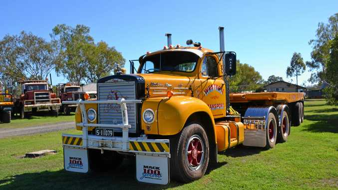 Peter and Glenda McCleverty's restored Western Transport's B615 V8 Mack coupled to Western Transport's heavy duty flat-bed oilfield trailer No 4.