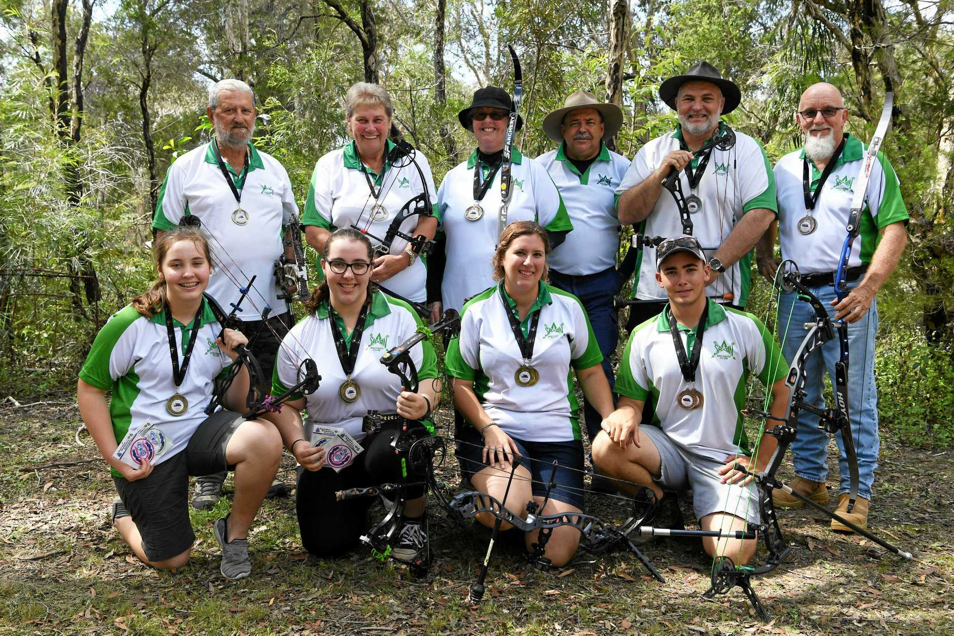 MEDAL WINNERS: Peter Helmrich (back), Pam Helmrich, Annette Christensen, Jum Gilbert, Andrew Little, Percy Gott, Marnie Little (front), Bella Little, Hannah Russell, Mitchell King. (two missing: Mouse Wondrock and Rebecca Darby)