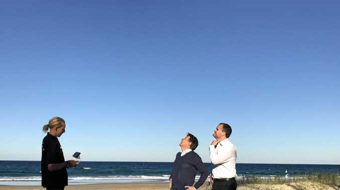 FLYING HIGH: Noosa Mayor Tony Wellington with young Peregian drone business innovator Eamon Kriz and Member for Fairfax Ted O'Brien looking to foster Noosa's Innovation Generation with the help of the CSIRO.