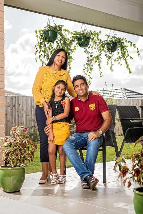 Jaswinder, Sharanjeet and Ruhika Somal in their new Springfield Rise home.