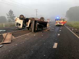 Driver holds on for dear life during highway crash