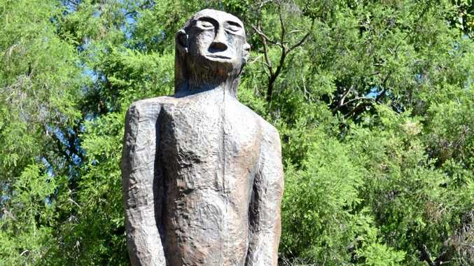 STANDING TALL: The new Yowie statue at Kilcoy after the previous one was taken down.