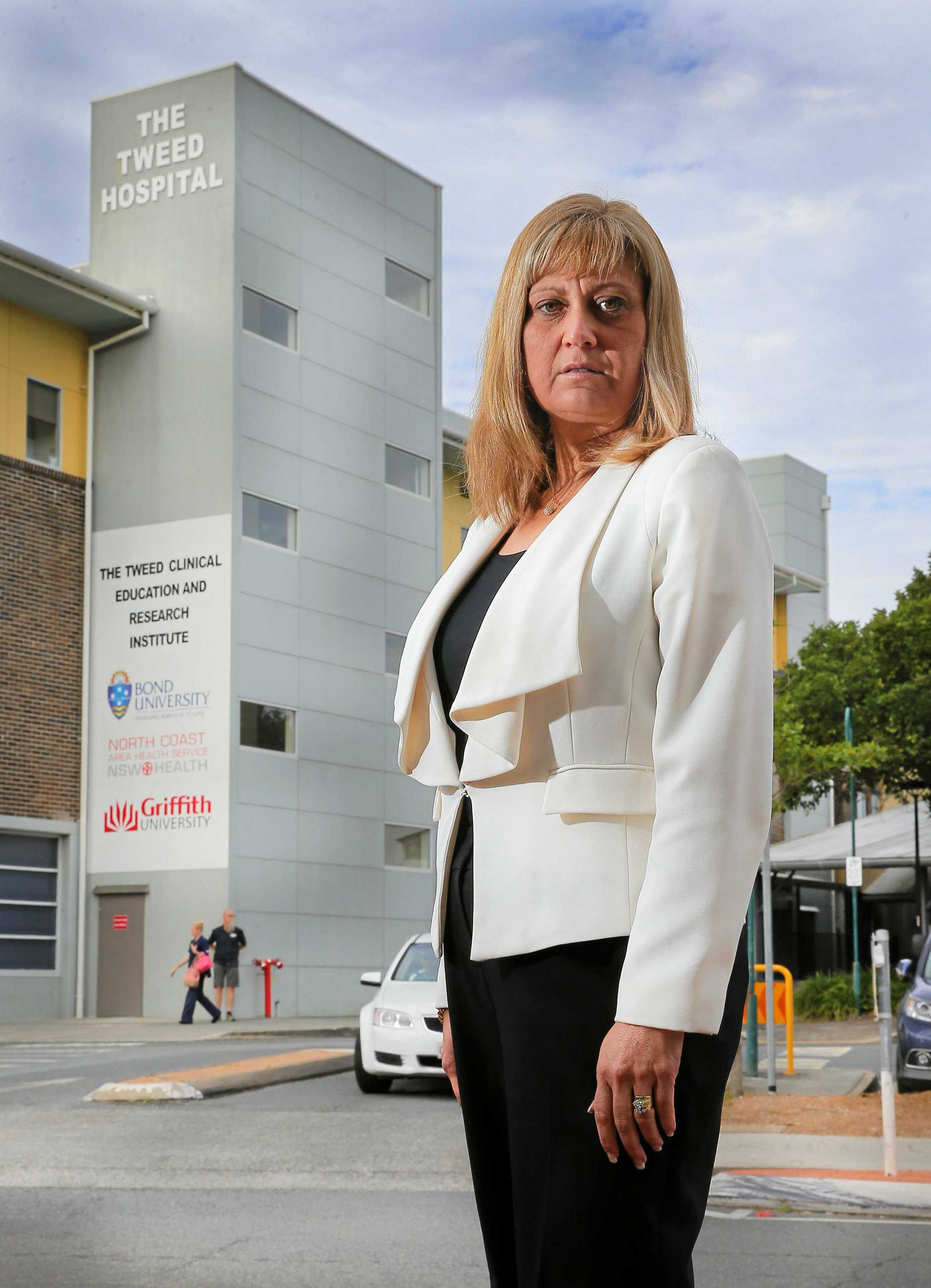 Federal Member of Parliment for the seat of Richmond, Justine Elliot outside Tweed Heads Hospital.