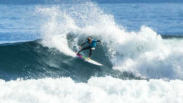 Sally Fitzgibbons in action after reports of the shark attacks emerged. Picture: Kelly Cestari/World Surf League