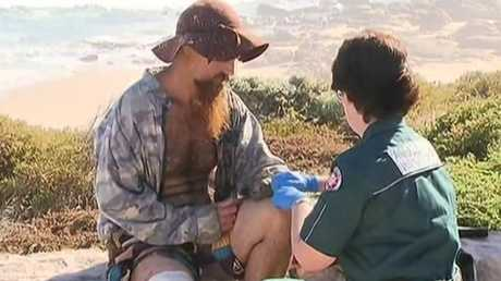 Western Australia recorded two separate shark attacks on the same day. The second victim Jason Longgrass is treated by paramedics in Gracetown.