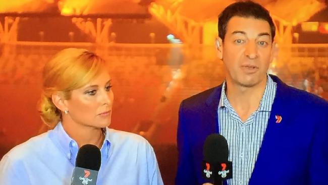 "Unimpressed: Johanna Griggs and Basil Zempilas slam the closing ceremony on air. Picture"" Channel 7"