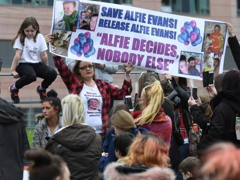 Supporters the hospital in northwest England after doctors said life-support treatment should stop because further treatment was futile. Picture: AFP Photo / Paul Ellis