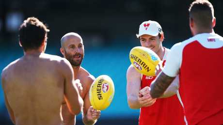 Jarrad McVeigh and Gary Rohan during the Sydney Swans session at the SCG ahead of their match this Friday night against the Crows. Picture: Phil Hillyard