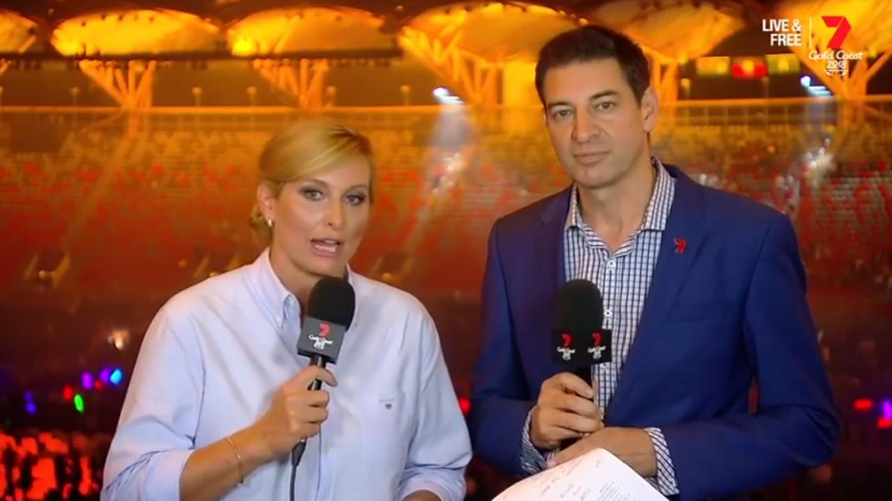 Closing ceremony hosts Johanna Griggs and Basil Zempilas didn't hold back with their concerns about the event.