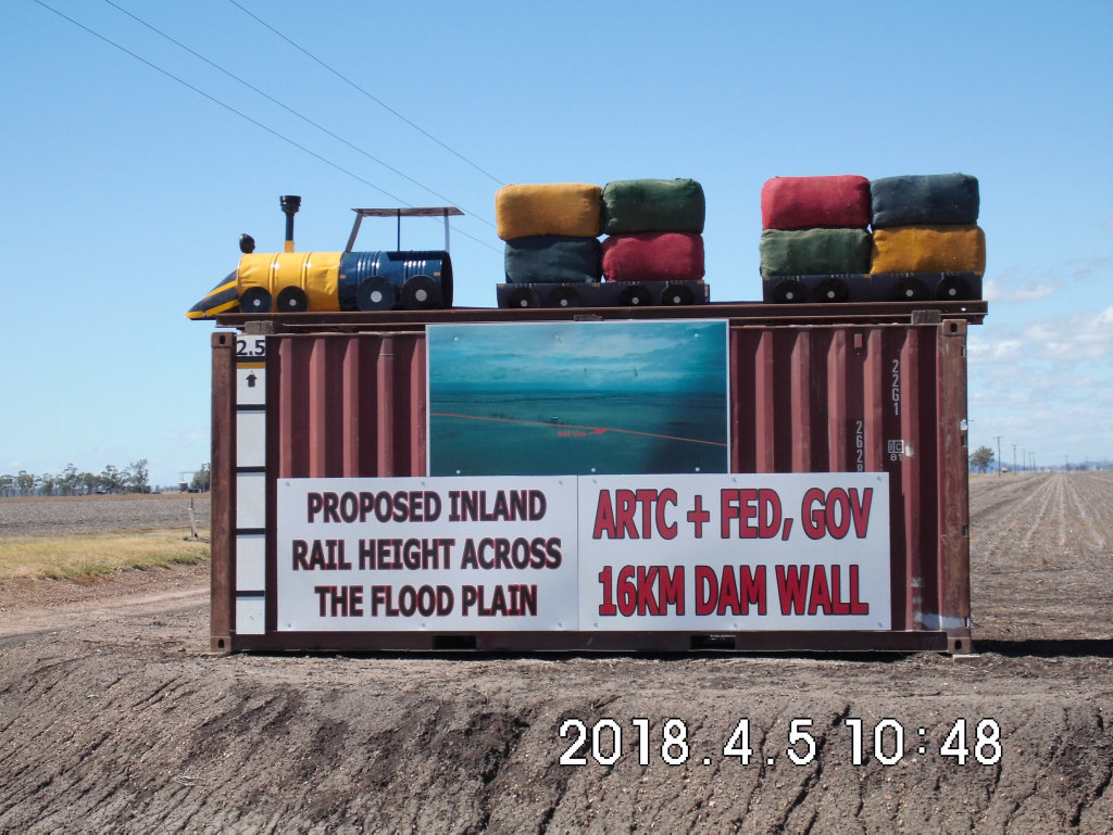 A mock Inland Rail line erected by the Inner Downs Inland Rail Action Group along the Gore Highway, in protest of the project.