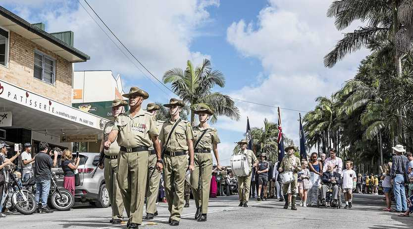 SPECIAL HONOUR: The traditional Anzac Day March heads off down Byron Street in Bangalow.