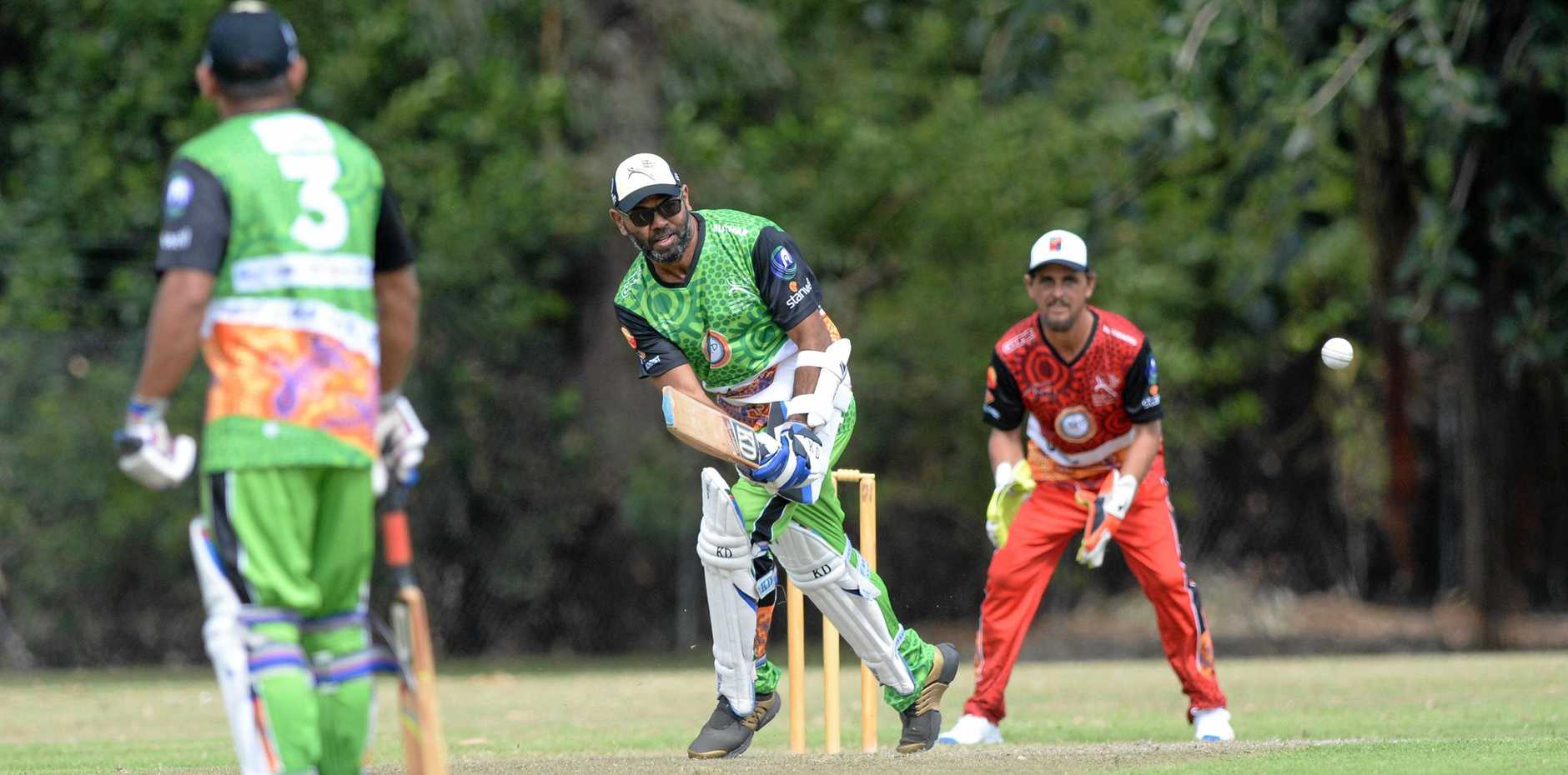 ON STRIKE: Buthar player Nyulang Savage hits out   against Renegades in the Stan Alberts Shield.