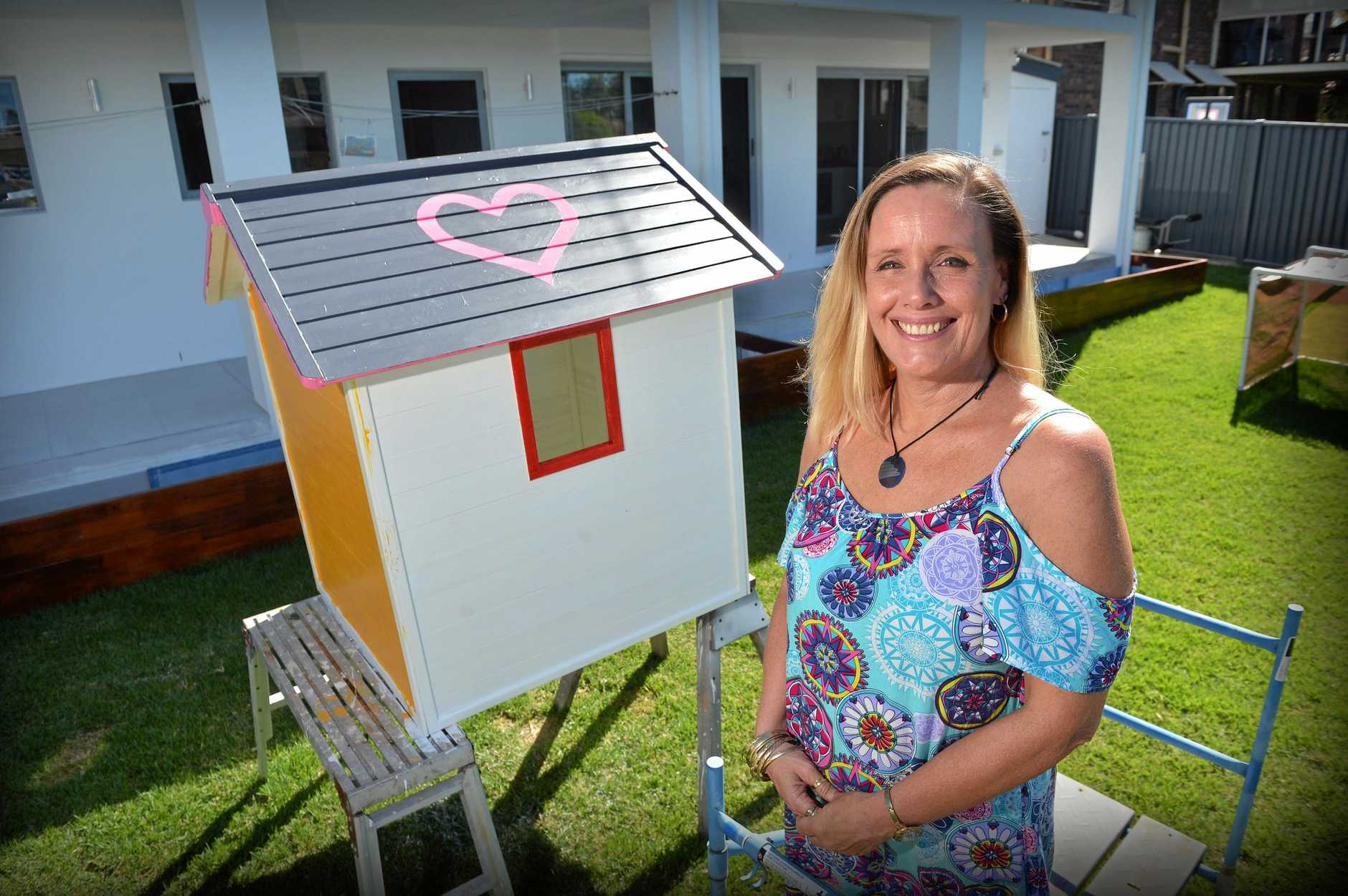 TOUCHING: Allona Lahn and her husband Grant have painted a giant heart on the roof of thier Mooloolaba home so their stillborn baby Lexi can find her way home.