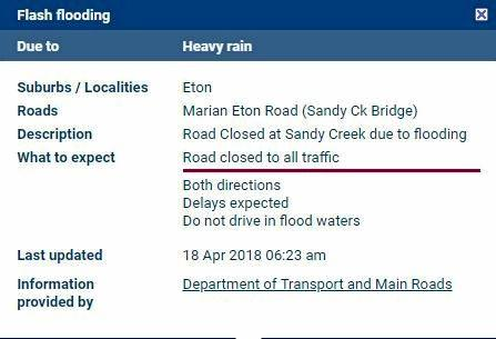 TMR is reporting 'Road Closed at Sandy Creek due to flooding'