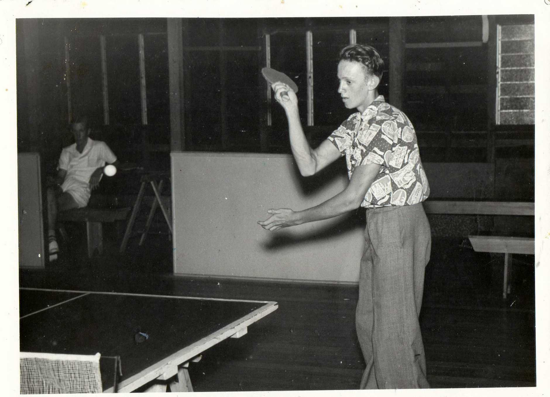 MURDER VICTIM: A young Bryan Hodgkinson taking part in a table tennis tournament - a regular activity he did with his sister Doris Hillier.