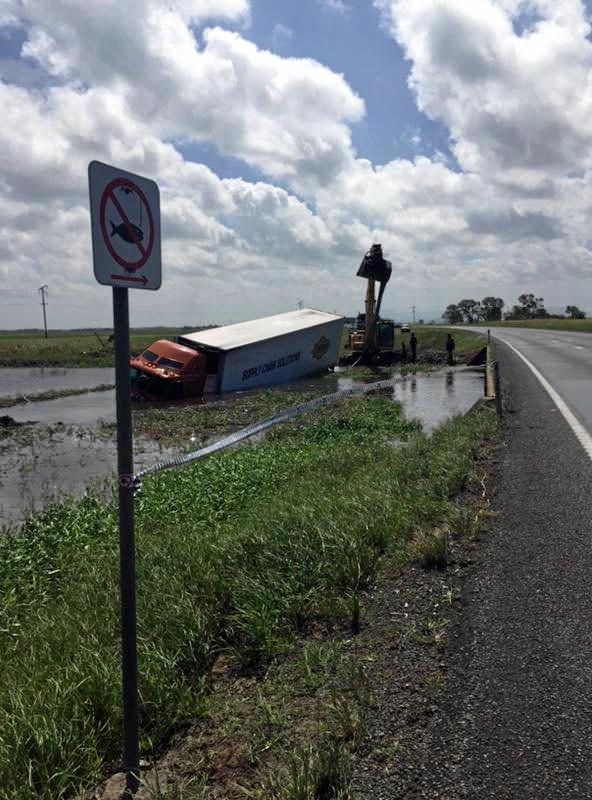 A truck has crashed on the Bruce Hwy about 10kms south of Proserpine.