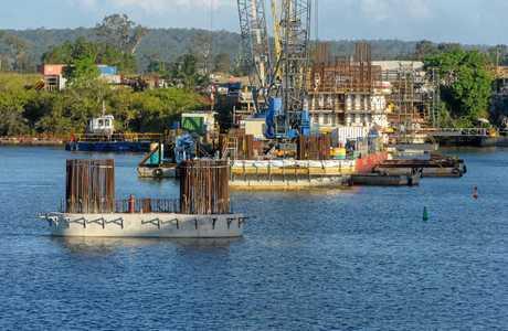 Progress works on the Grafton Bridge.